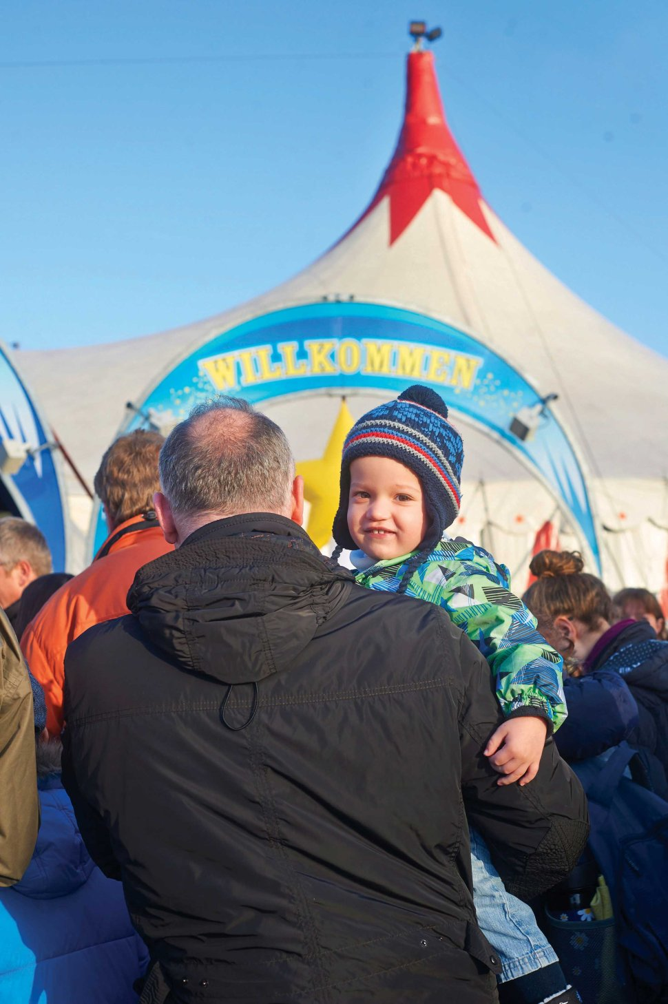 "Nico (2) from Niedernhall at the entrance of the ""Big Top"" tent."
